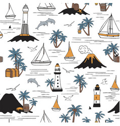 seamless pattern with sailboats and palm trees vector image