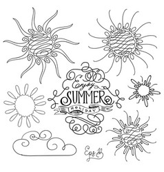 Set of different suns isolated hand drawn vector