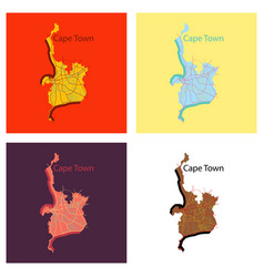Set of flat icon map of capetown vector