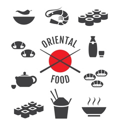 set oriental japanese food icons vector image