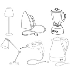 Silhouettes of appliances vector image