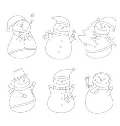 snowman line art outline clip art sihouettes vector image