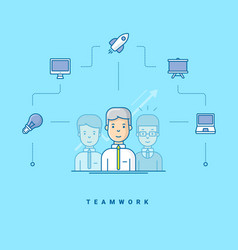 teamwork three cartoon characters standing vector image