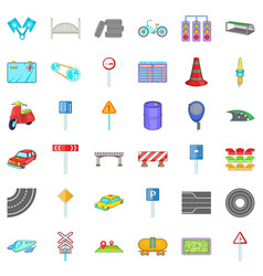 Transport on road icons set cartoon style vector