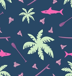 Tropical surfing seamless pattern vector