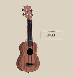 Ukulele - hawaiian musical hand drawn sketch vector