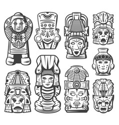 Vintage maya civilization objects collection vector