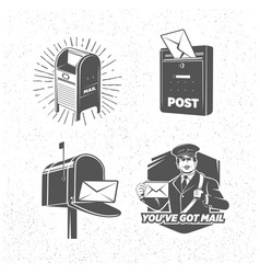 Vintage post service icons set vector