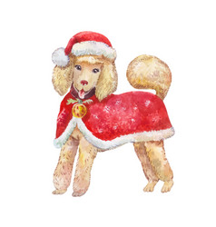 watercolor dog in red santa claus clothes smiling vector image
