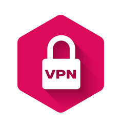 White lock vpn icon isolated with long shadow vector