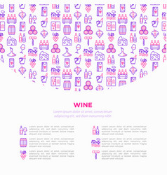 wine concept with thin line icons vector image