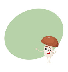 winking porcini mushroom character with human face vector image