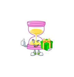 With gift icon sandglass in cartoon character vector