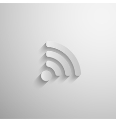 3d paper wireless network icon with long shadow vector image