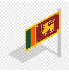 flag of sri lanka with flagpole isometric icon vector image