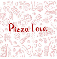 hand drawn cooking pizza elements vector image vector image
