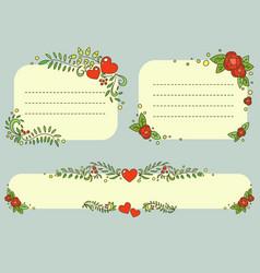 hand drawn floral romantic frames set vector image vector image