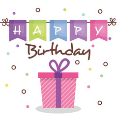 happy birthday card with giftbox vector image