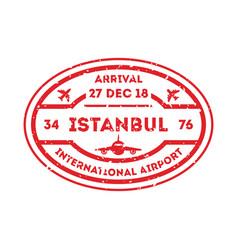 istanbul city visa stamp on passport vector image