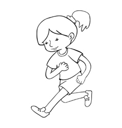 Run girl contour vector image vector image