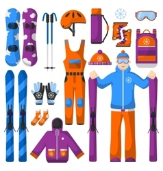 Set of snowboarding equipment icons vector
