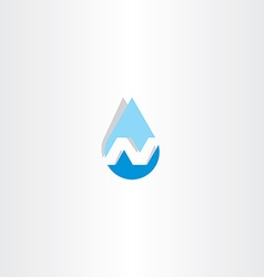 Water drop letter n icon vector