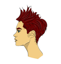a woman with dark red hair in profile the hair is vector image