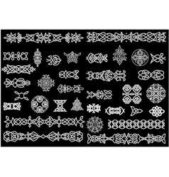 Celtic knot patterns ornaments and borders vector image