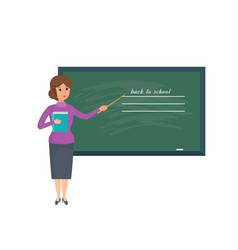 girl teacher with school journal in hand stands vector image