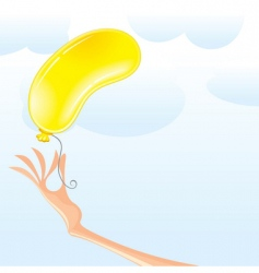 hand with balloon vector image vector image