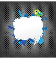Metal Background With Speech Bubble And Bird vector image vector image