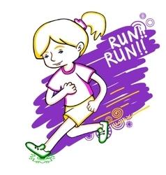 Run girl color vector image vector image