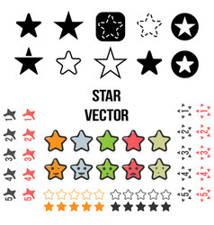 set of star icons isolated on vector image vector image