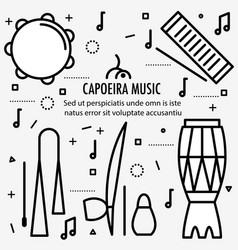Brazilian capoeira music instruments vector