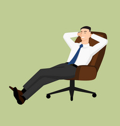 businessman sitting in chair and smiling vector image