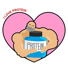 I love protein Athlete and Sports Nutrition Cute vector image