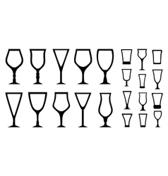 set isolated alcohol glass icons vector image