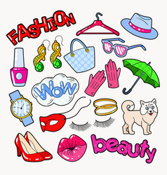 woman fashion doodle with accessories and clothes vector image vector image