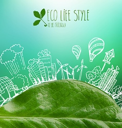 Banner with green leaves and doodles vector image vector image