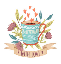 coffee cup love vector image vector image