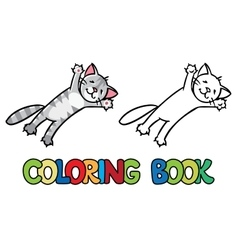 Jumping or flying cat Coloring book vector image vector image