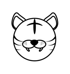 outline tiger head animal vector image