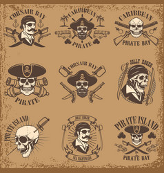 Set of pirate emblems on grunge background vector