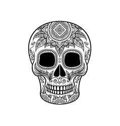 Sugar skull with floral ornament dia de muertos vector