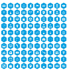 100 business day icons set blue vector