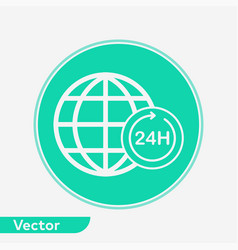24 hours globe icon sign symbol vector image