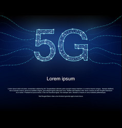 5g background with polygon mesh binary codes vector image