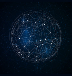 Abstract low poly sphere with connecting dots vector