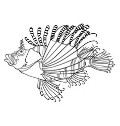 adult coloring bookpage a cute fish image vector image