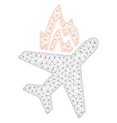 Airplane fire polygonal frame mesh vector